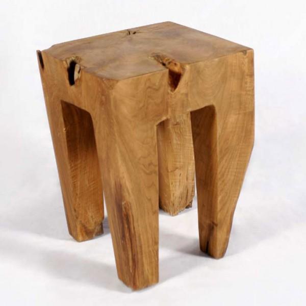 WOHNFRUDEN Teak Holz Hocker 40 cm lasiert Beistelltisch Teakwurzel Schemel