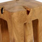 WOHNFRUDEN Teak Holz Hocker 40 cm lasiert Beistelltisch Teakwurzel Schemel 3
