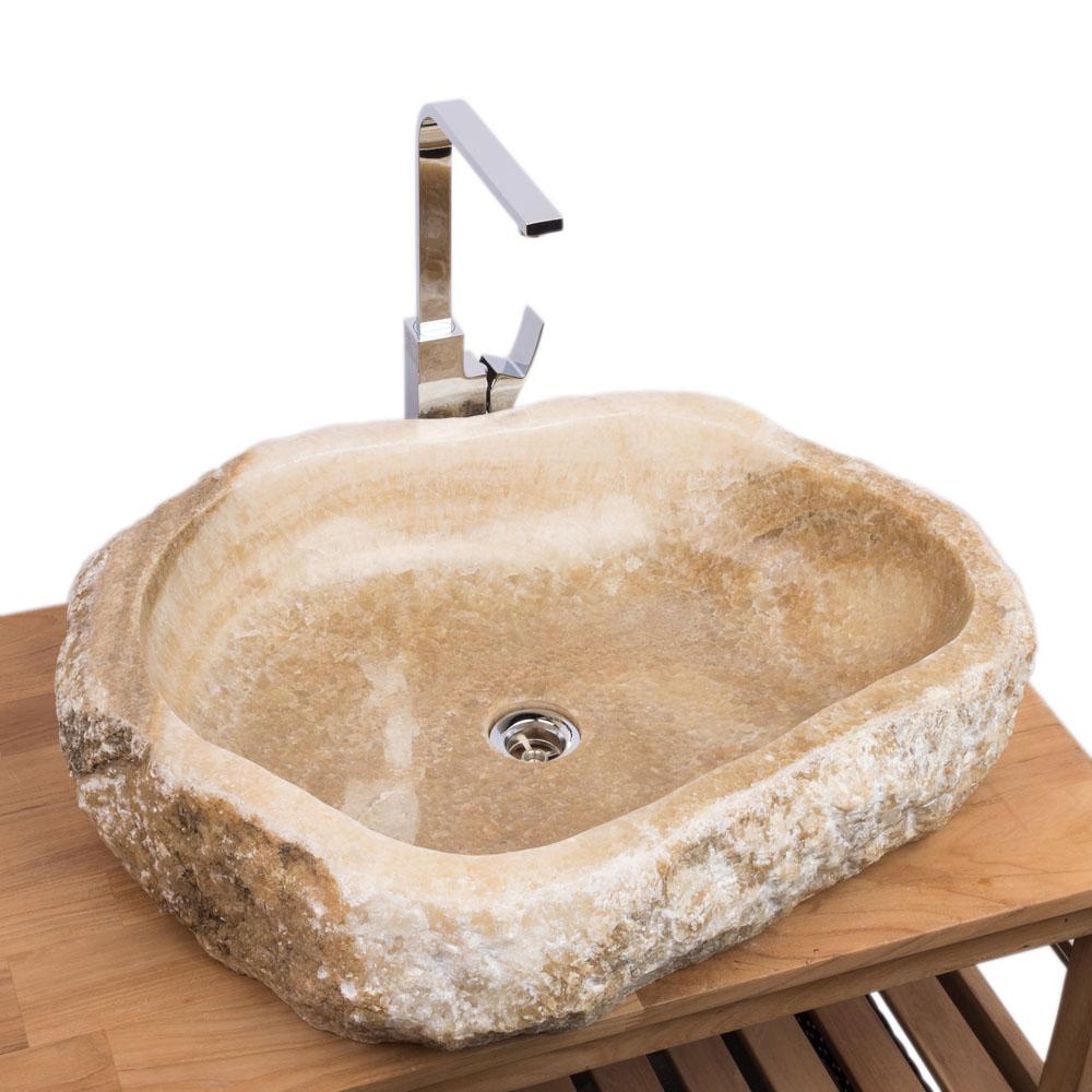 WOHNFREUDEN Onyx Steinwaschbecken 65x50x15 cm oval Marmor Waschbecken Bad Gäste WC