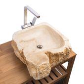WOHNFREUDEN Onyx Steinwaschbecken 48x52x16 cm oval Marmor Waschbecken Bad Gäste WC