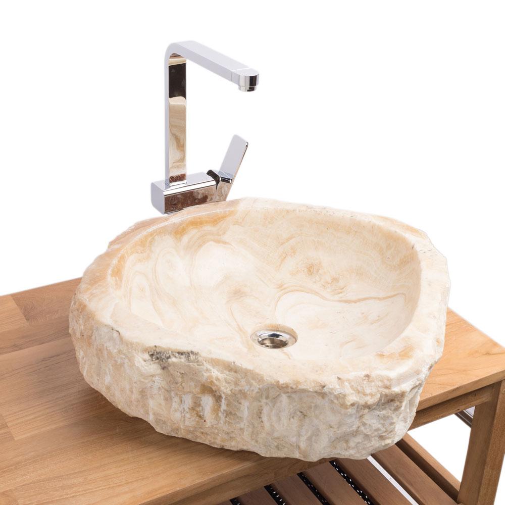 WOHNFREUDEN Onyx Steinwaschbecken 49x45x15 cm oval Marmor Waschbecken Bad Gäste WC
