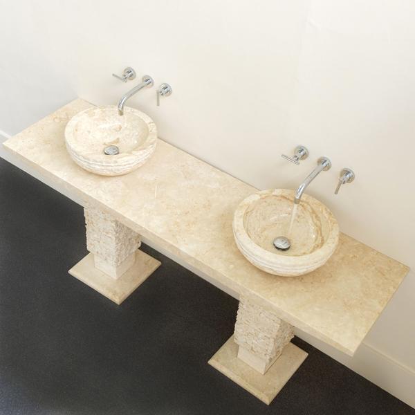 Marmor Waschtisch mit Doppelwaschbecken 180 cm T-Model creme