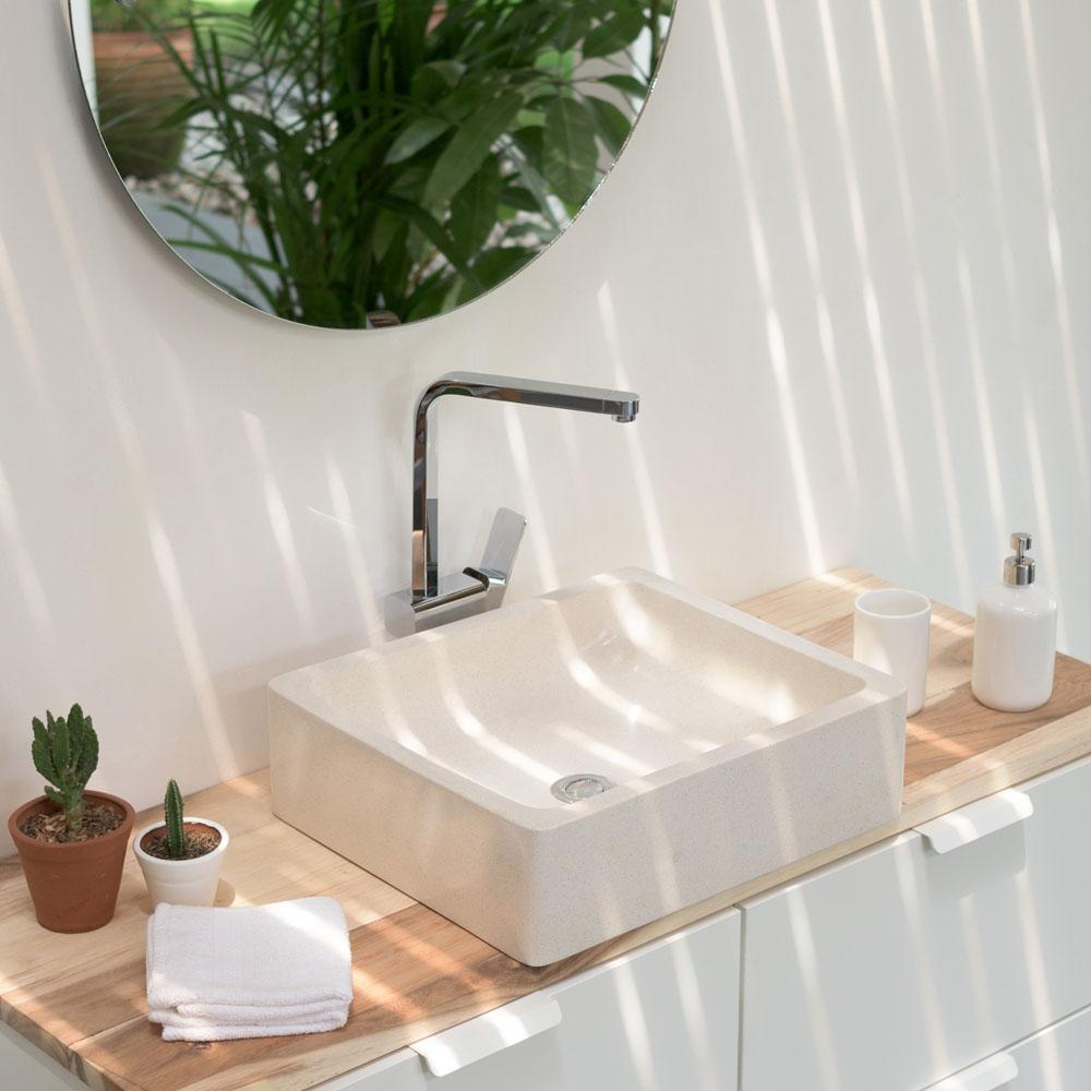 WOHNFREUDEN Terrazzo Aufsatz-Waschbecken 46x40x13 cm eckig poliert creme