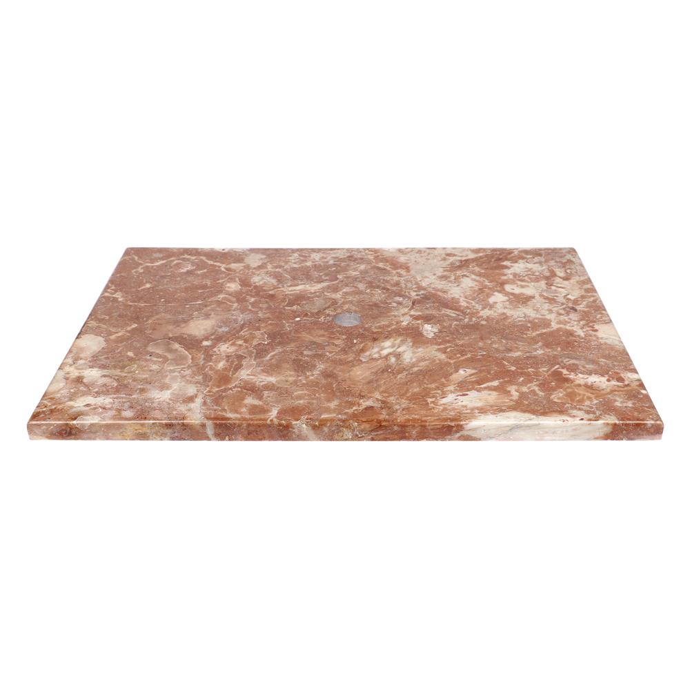 WOHNFREUDEN Marmor Waschtischplatte rot poliert 83x56,5x3 cm Waschtisch Unterbau