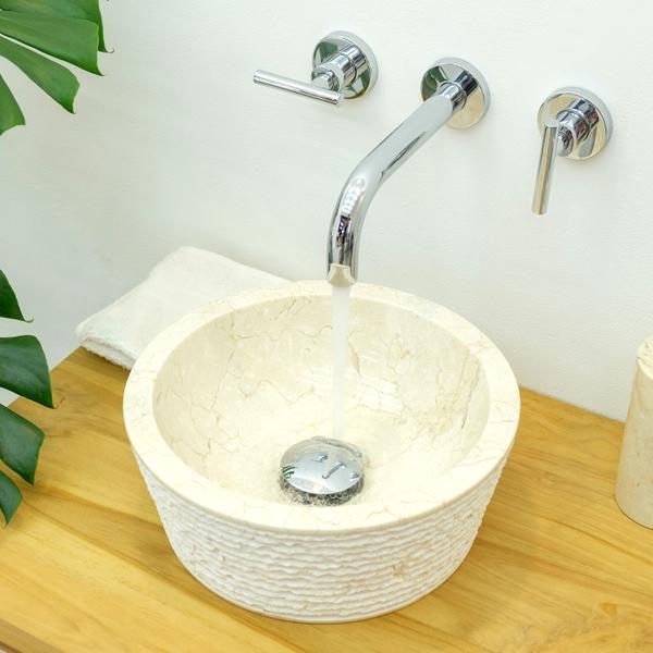 Waschbecken aus Marmor 30 cm in creme