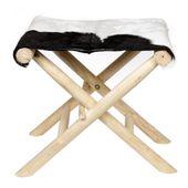 WOHNFREUDEN Ziegen-Fell Klapphocker Schemel Sitzhocker natur schwarz weiss Unikat 49 cm