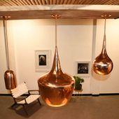 WOHNFREUDEN Kupfer Lampenschirm M gold natur 40x40x60 cm Hängelampe Deckenlampe