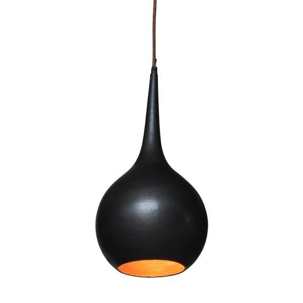 Hängelampe schwarz aus Kupfer 22x45 cm