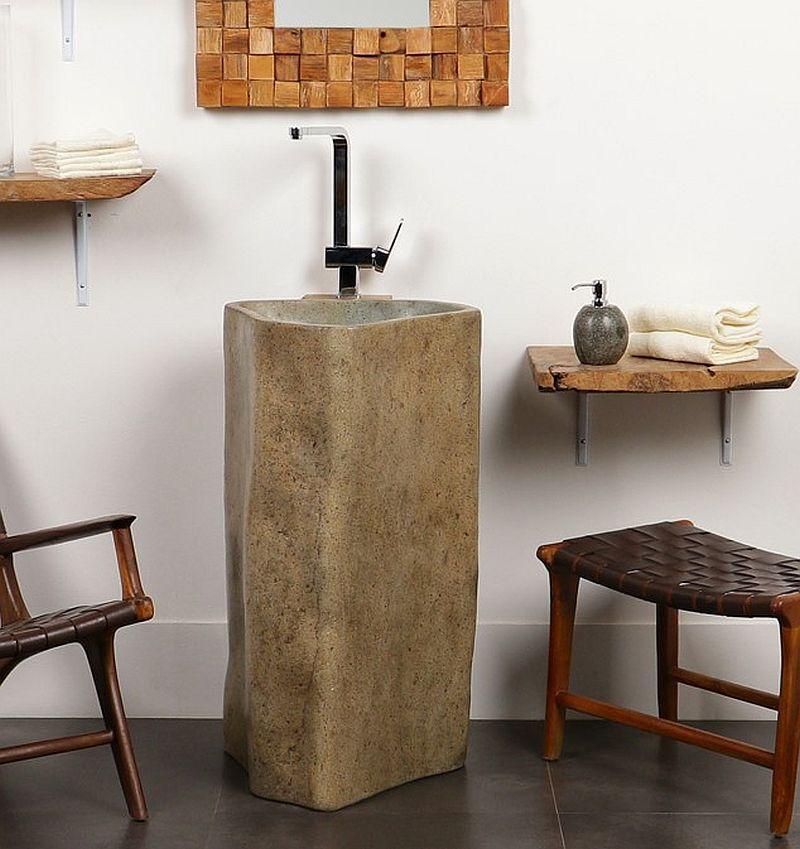 WOHNFREUDEN Marmor Stand-Waschbecken Waschtisch-Säule 90 cm creme Bad Gäste WC