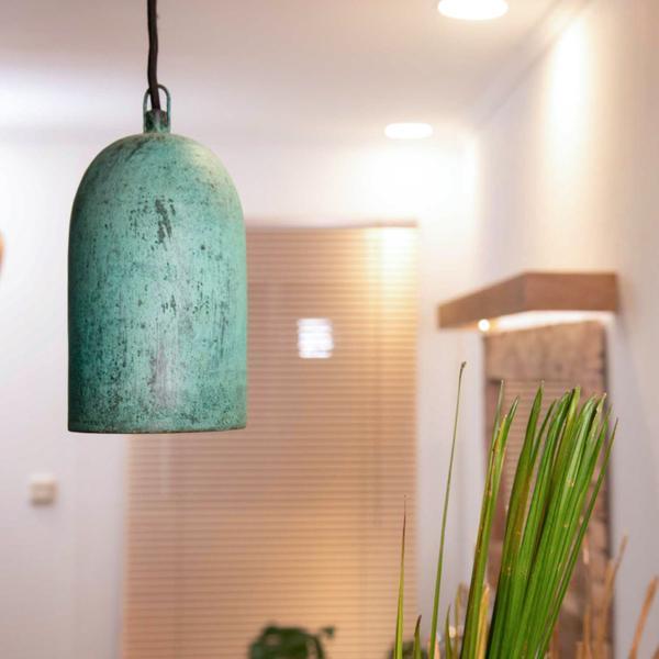 Kupfer Lampenschirm Cup Stlek grün 12x12x24 cm