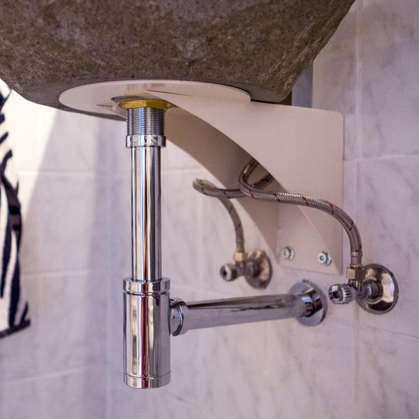 Halterung Metall für Waschbecken mit Armaturenloch