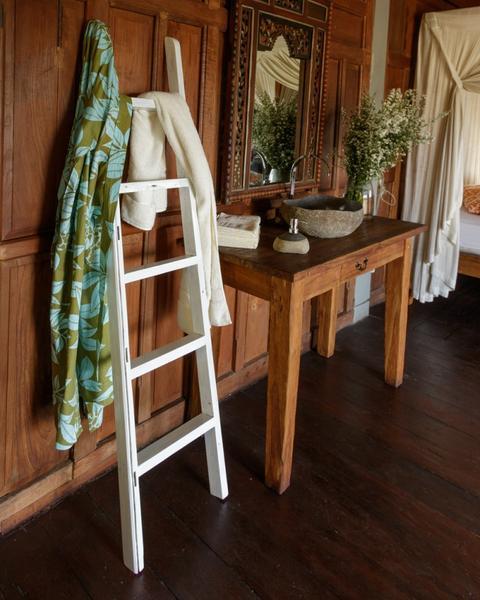 Teak Holz Handtuchleiter recycelt weiß 160 cm