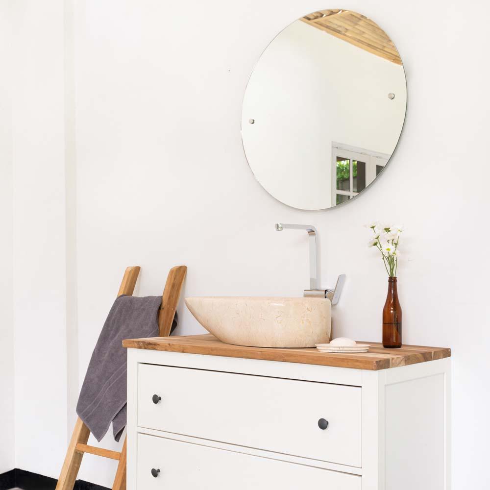 WOHNFREUDEN Marmor Naturstein-Waschbecken Stein NET Tropfen 60cm creme Gäste WC