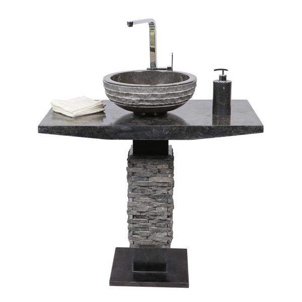 Marmor Waschtisch Säule T-Model schwarz