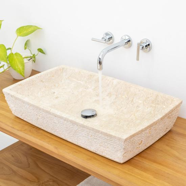 Marmor - Waschbecken MARA rechteckig gehämmert - creme 70x40x13 cm