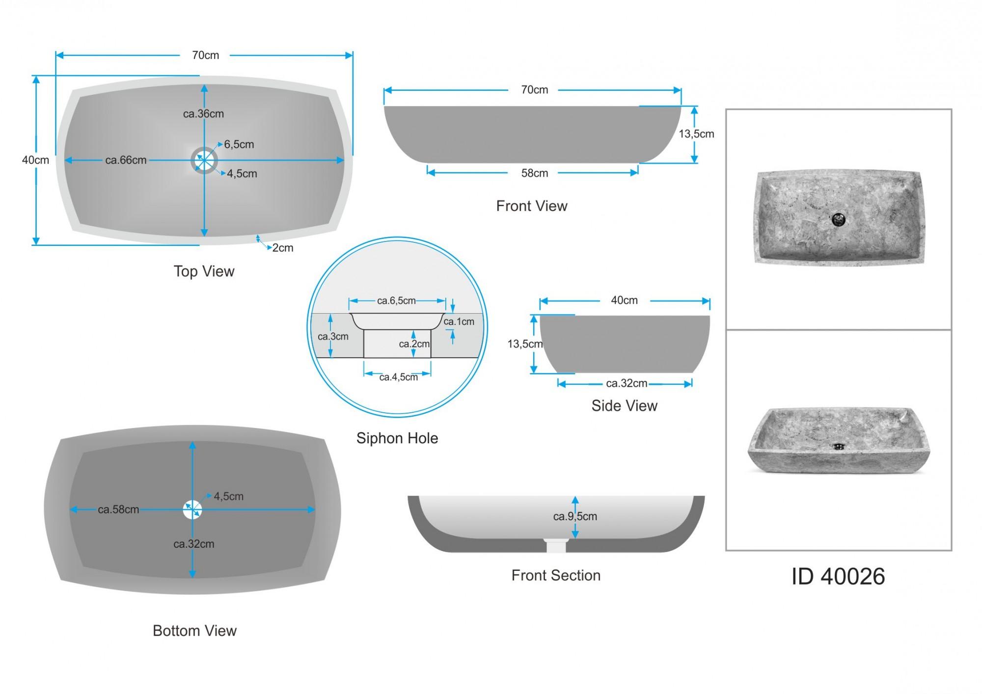 WOHNFREUDEN Naturstein Waschbecken 70x40x13 cm poliert creme Aufsatzbecken