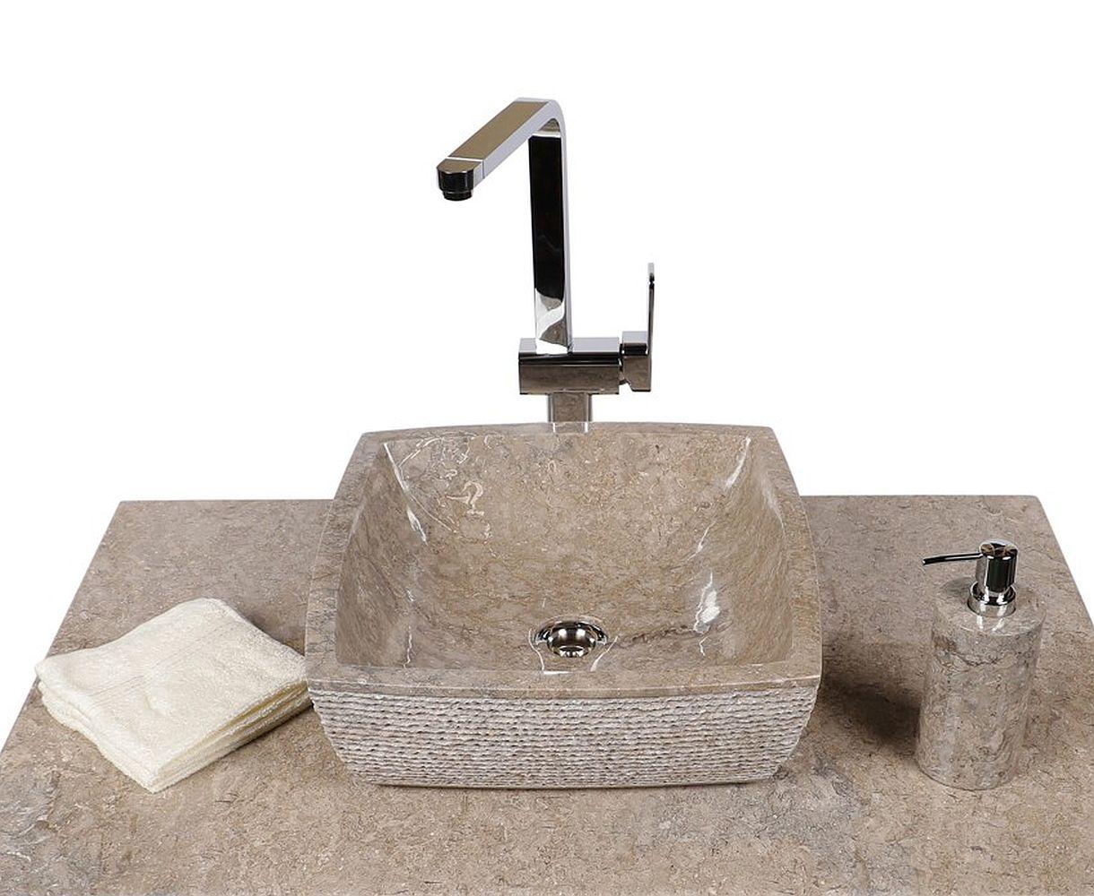 WOHNFREUDEN Marmor Naturstein-Waschbecken MARA 40x40 eckig grau Bad Gäste WC