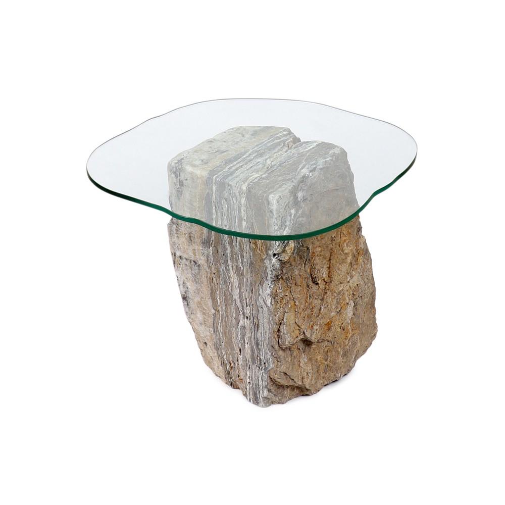 WOHNFREUDEN Naturstein Onyx Tisch mit Glasplatte massiv 35x40x48 cm Couchtisch