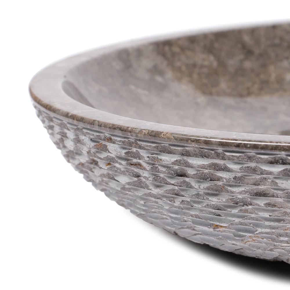 WOHNFREUDEN Marmor Naturstein-Waschbecken Steinwaschbecken LEMPER 50 cm grau