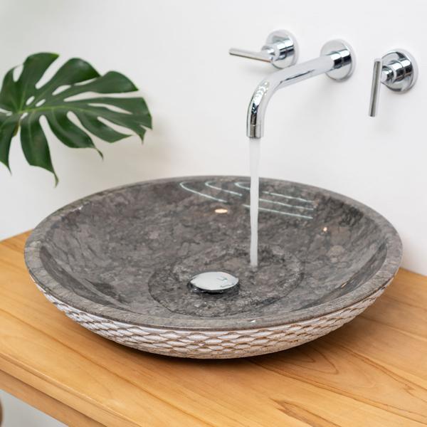 Waschbecken aus Marmor LEMPER gehämmert 50 cm grau