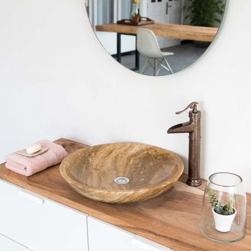 WOHNFREUDEN Naturstein Onyx Aufsatz-Waschbecken 50cm rund poliert creme Gäste WC