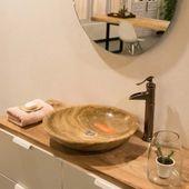 WOHNFREUDEN Naturstein Onyx Aufsatz-Waschbecken 50cm rund poliert creme Gäste WC 3