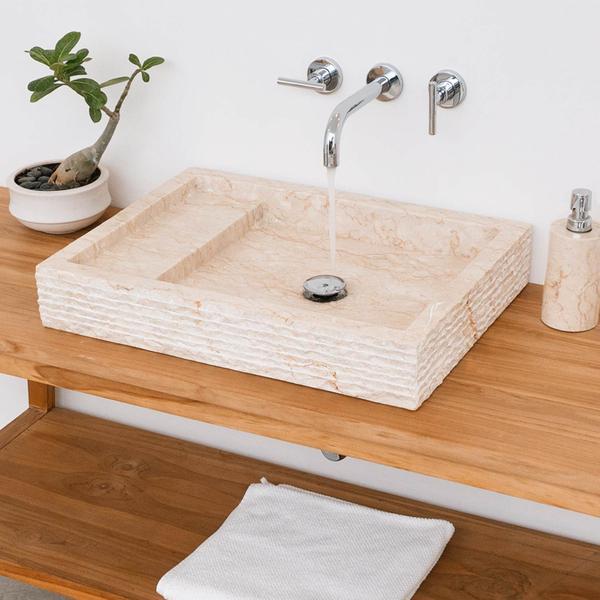 Marmor - Waschbecken MO 14 gehämmert 60 cm creme