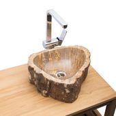 WOHNFREUDEN fossiles Holz Naturstein Waschbecken 38x35x15 cm oval Bad Gäste WC