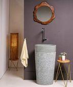 WOHNFREUDEN Marmor Stand-Waschbecken Halb-säule 50x35x90 cm creme rund Gäste WC