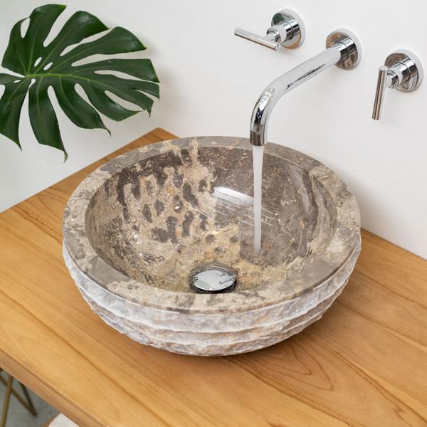 Marmor Waschbecken BASCOM ROWFISH 40 cm Handwaschbecken grau