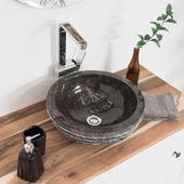 WOHNFREUDEN Marmor Naturstein-Waschbecken SteinBASCOM ROWFISH 40 cm Gäste WC
