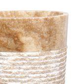 WOHNFREUDEN Marmor Stand-Waschbecken 50x35x90 cm natur oval Säule Gäste WC Bad