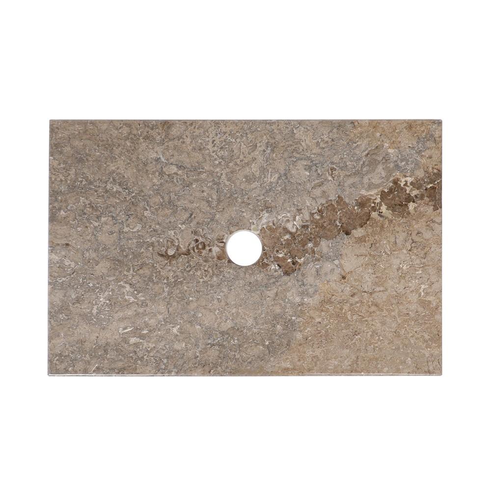 WOHNFREUDEN Naturstein Marmor Waschtisch-Platte grau 60x40x3 cm