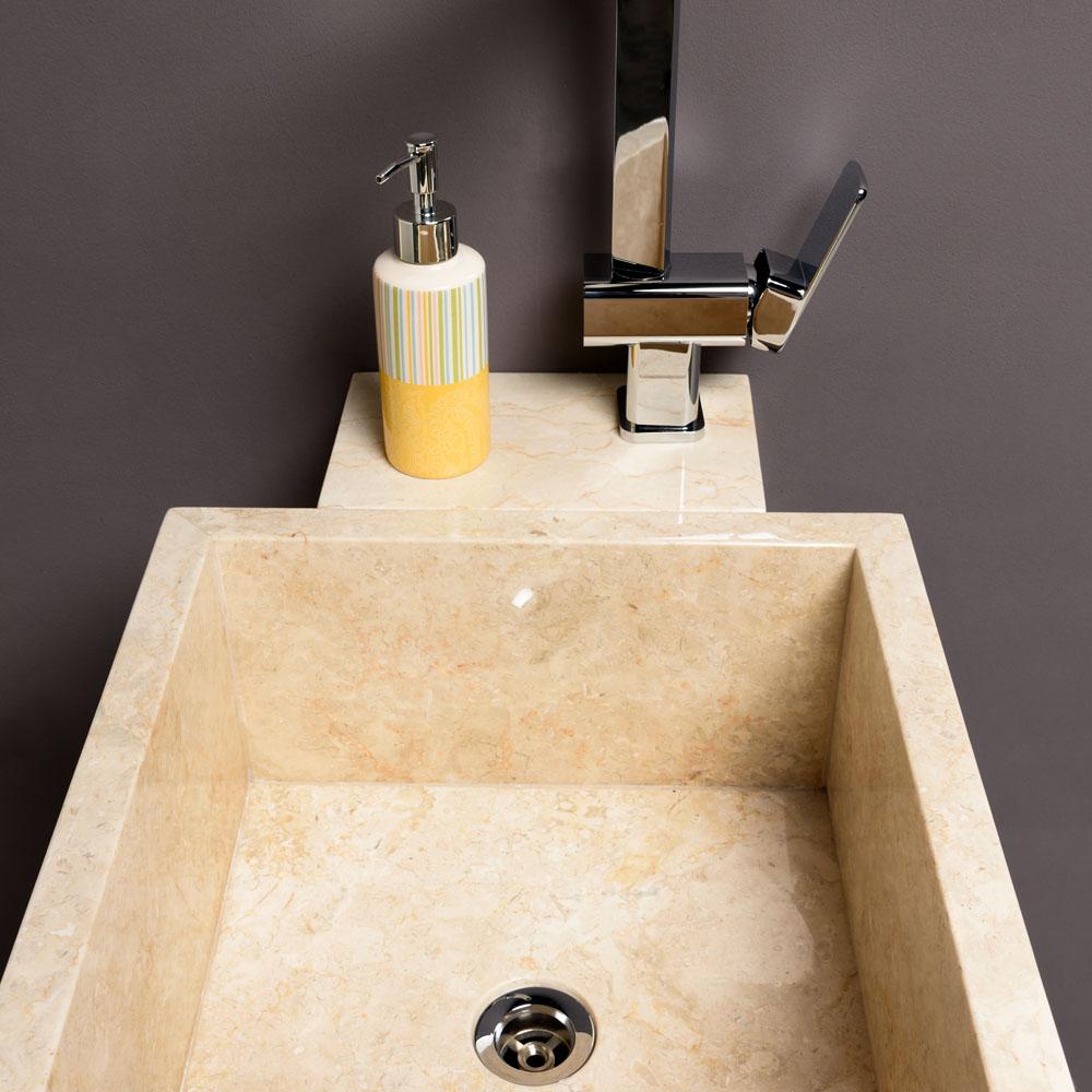 WOHNFREUDEN Marmor Armaturen Halterung Waschtischsäule Kotak Standwaschbecken