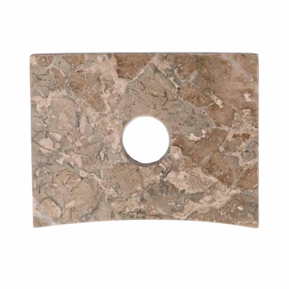 WOHNFREUDEN Marmor Armaturenhalterung grau für ovale Säule Standwaschbecken