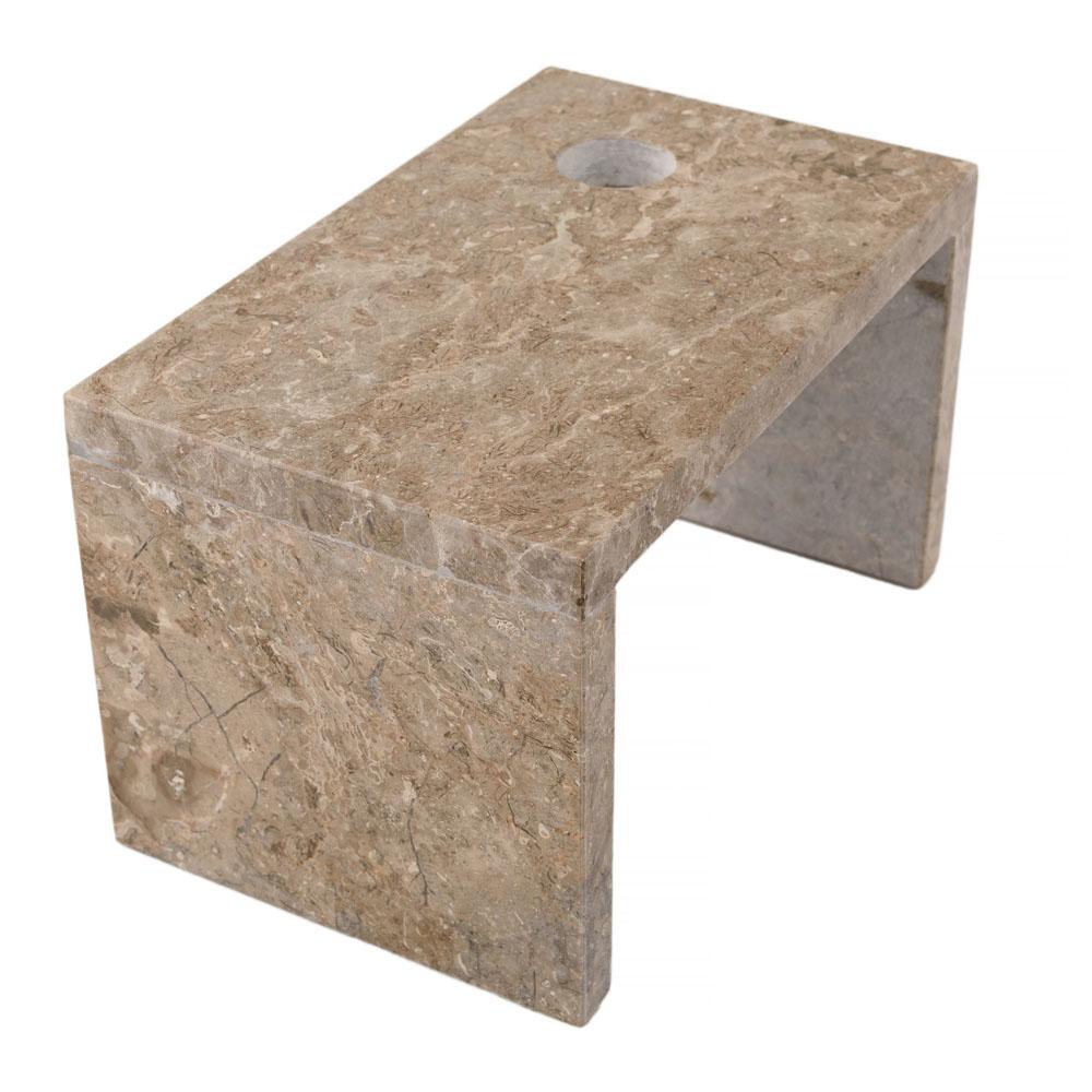 WOHNFREUDEN Marmor Armaturenhalterung für Säule Standwaschbecken Halbsäule Grau