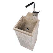 WOHNFREUDEN Marmor Armaturen Halterung Waschtischsäule MO 018 grau Standbecken