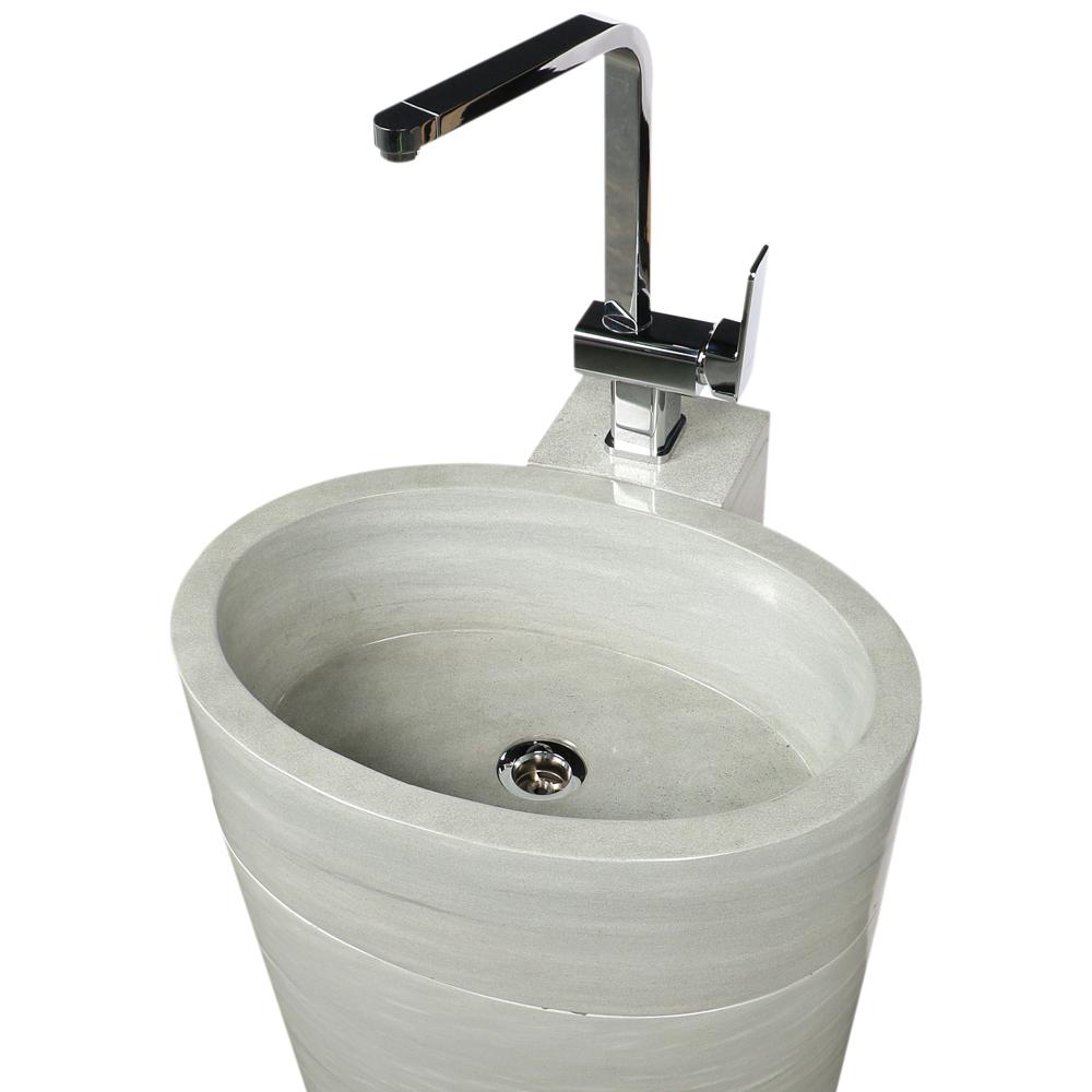 WOHNFREUDEN Sandstein Armaturenhalterung für ovale Säule Waschtischsäule