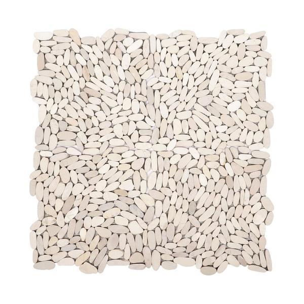 1 m² Marmor Mosaik Fliesen Slice weiß 30x30 cm