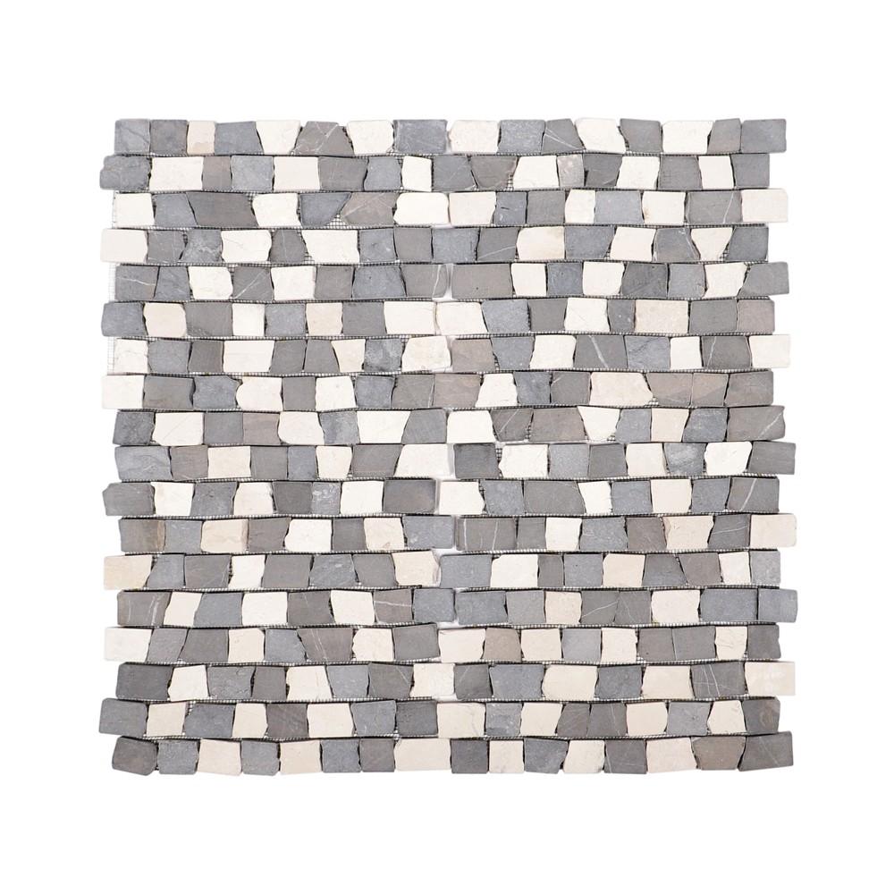 1 m marmor mosaik fliesen mix wei grau 30x30 cm bei wohnfreuden kaufen. Black Bedroom Furniture Sets. Home Design Ideas