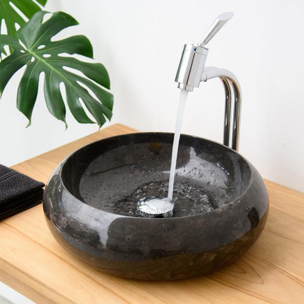 Stein-Waschbecken schwarz Marmor