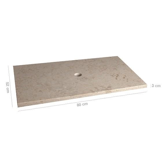 WOHNFREUDEN Naturstein Marmor Waschtisch-platte 80x52x3 cm creme Unterschrank
