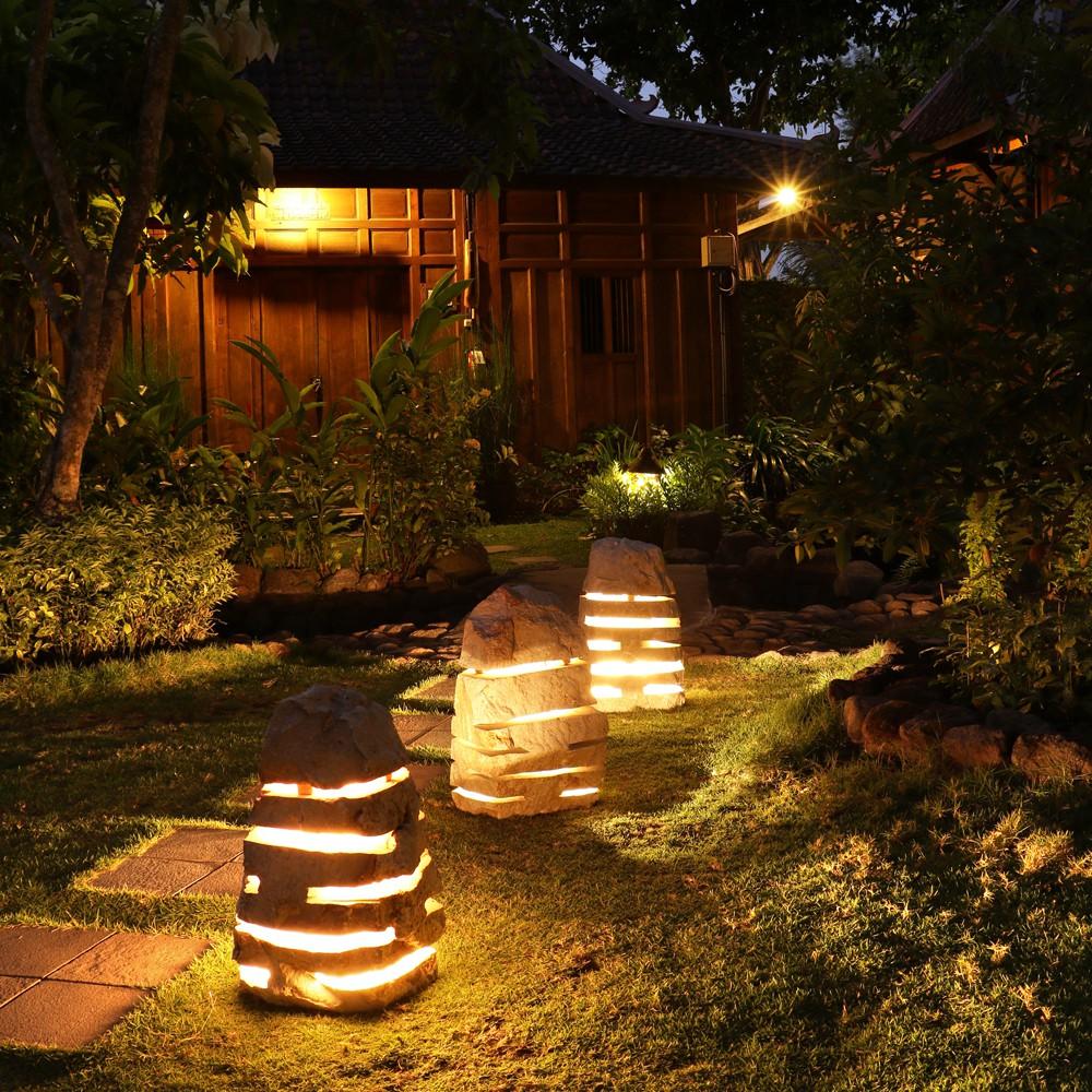 WOHNFREUDEN Marmor Leuchte Garten M 30x30x50 cm Licht Lampe Aussenbeleuchtung