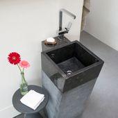 WOHNFREUDEN Marmor Stand-Waschbecken 40x90cm Säule Komplettlösung schwarz eckig