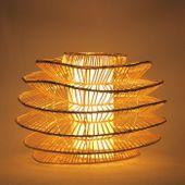 WOHNFREUDEN Rattan Boden-leuchte Steh-lampe Lampenschirm POMPADOUR ca 80 cm