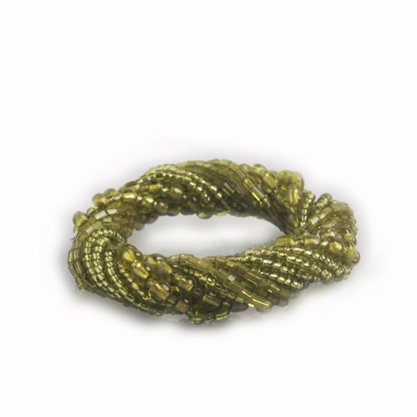WOHNFREUDEN Serviettenringe Perlen-Schnur grün Tischset Serviettenhalter 4er Set