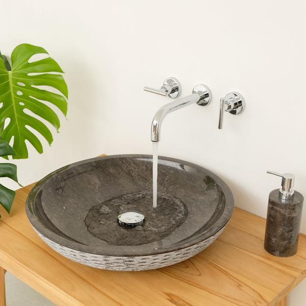 Marmor - Waschbecken LEMPER gehämmert 50 cm schwarz