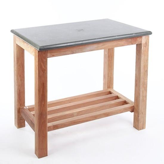 WOHNFREUDEN Waschtisch Untergestell Unterschrank Holz + Platte Naturstein 80 cm
