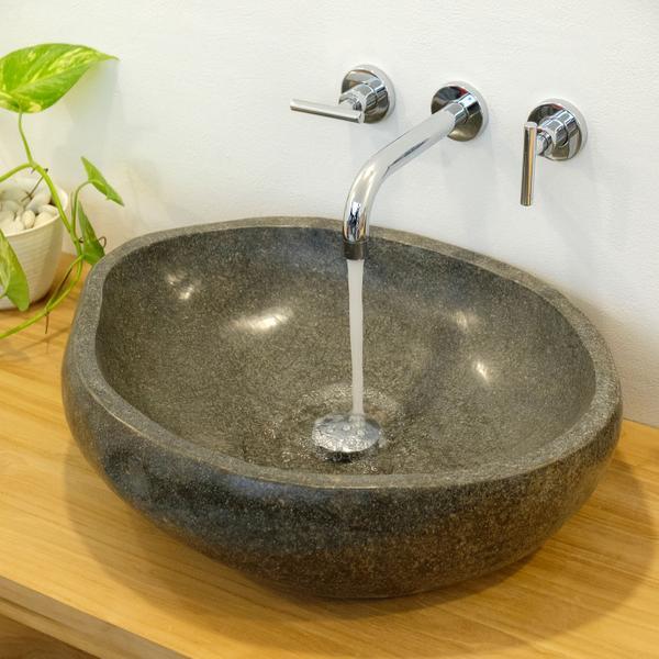 Naturstein Waschbecken 50 cm rundum poliert