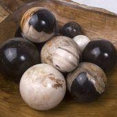 WOHNFREUDEN 3er Set fossile Kugeln ca 4 cm poliert versteinertes Holz Dekokugeln 4
